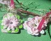 ADORING Pink and Green Damask Flower Tags Set of 6