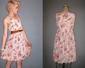 90s sweet pink floral layering dress