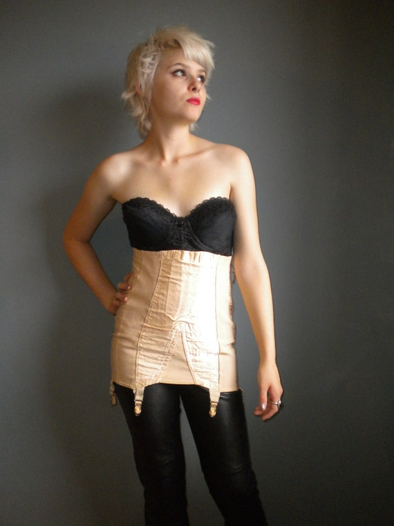 1940s girdle with garters/ peach satin with big zipper / madonna/ s sm