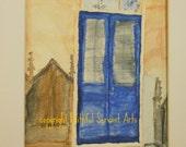 The Blue Door - Watercolor