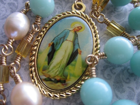 Chaplet - Amazonite and Fresh Water Pearl Chaplet of the Immaculate Conception