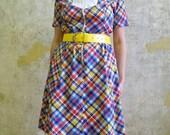 1970s Handmade Primary Color Plaid Dress