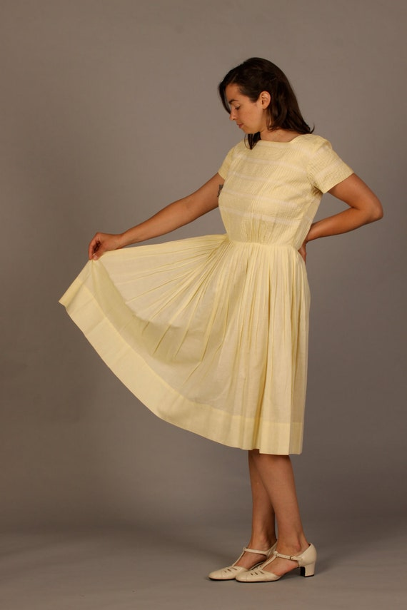 1950s Pale Yellow and Lace Day Dress