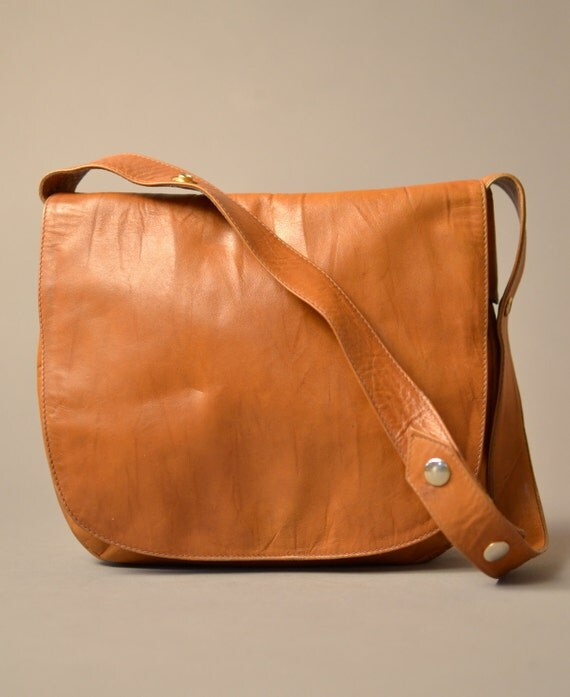 1950s Sable Leather Messenger Purse
