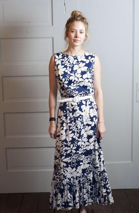 1960s Blue Floral Maxi Dress
