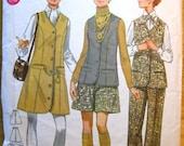 Vintage 60s Junior Miss Sewing Pattern Butterick 5417, Flared Pants, Pantskirt, Jumper, Vest, bust 32