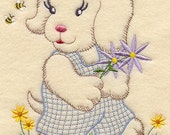 Vintage Baby Animal - Puppy and Flowers Design - Machine Embroidered Quilt Block