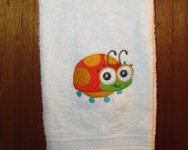 Embroidered Hand Towel - Wide-Eyed Baby Girl Ladybug Design