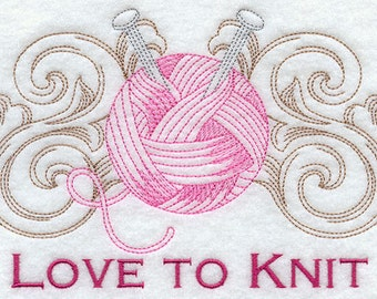 Flour Sack Towel  - Love to Knit / Crochet / Sew / Quilt Embroidery Design