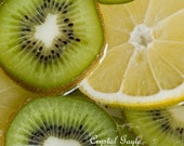 Fruity Photo Fine Art Foodie Photography Print kitchen wall art decor lemon yellow kiwi green
