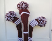 Hand Knit Golf Club Head Covers Set of 3 Burgundy and White with Pom Pom