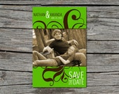 Wedding Invitation, Save the Date, Photo, Swirled, Green, Brown, Printable, Digital File by ticklemeink on Etsy