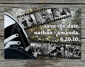 Wedding Invitation, Save the Date, Photo, Filmstrip, Converse, Black and White, Printable, Digital File by ticklemeink on Etsy