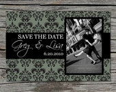 Wedding Invitation, Save the Date, Photo, Damask, Grey, Printable, Digital File by ticklemeink on Etsy