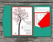 Wedding Invitation, DIY, Pocketfold, Heart Tree, Printable, Digital File by ticklemeink on Etsy