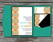 Wedding Invitation, DIY, Pocketfold, Morrocan, Aqua, Orange, Printable, Digital File by ticklemeink on Etsy