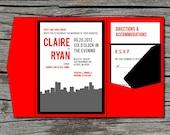 Wedding Invitation, DIY, Pocketfold, City Skyline, Printable, Digital File by ticklemeink on Etsy