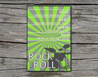 Invitation, Birthday, Rock and Roll, Printable, Digital File by ticklemeink on Etsy