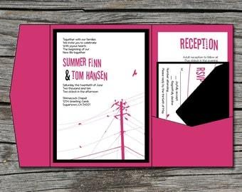 Wedding Invitation, DIY, Pocketfold, Modern, Power Lines, Birds, Printable, Digital File by ticklemeink on Etsy