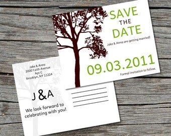 Wedding Invitation, Save the Date, Postcard, Tall Tree, Set of 100 by ticklemeink on Etsy