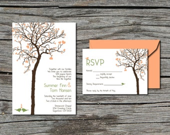 Wedding Invitation, DIY, Invite and RSVP, Heart Tree, Printable, Digital File by ticklemeink on Etsy