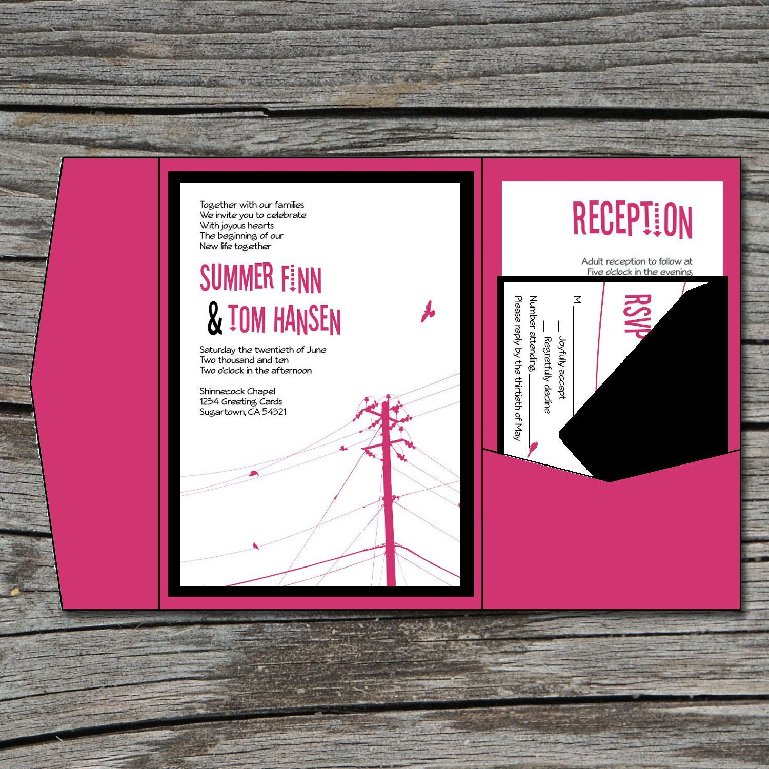 Wedding invitation diy pocketfold modern power lines for Diy pocket wedding invitations tutorial