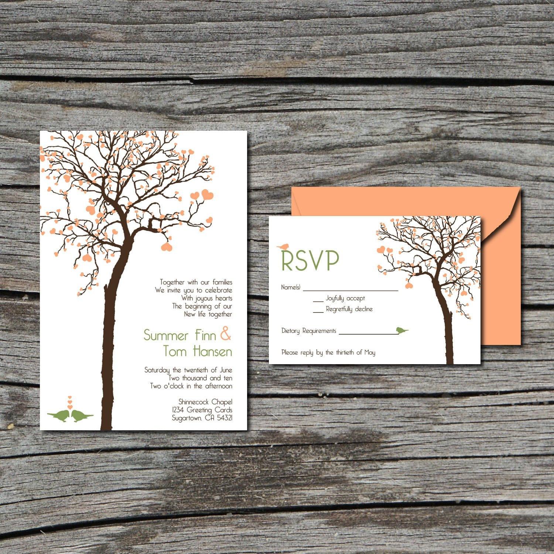 Wedding Invitation Tree: Wedding Invitation DIY Invite And RSVP Heart Tree