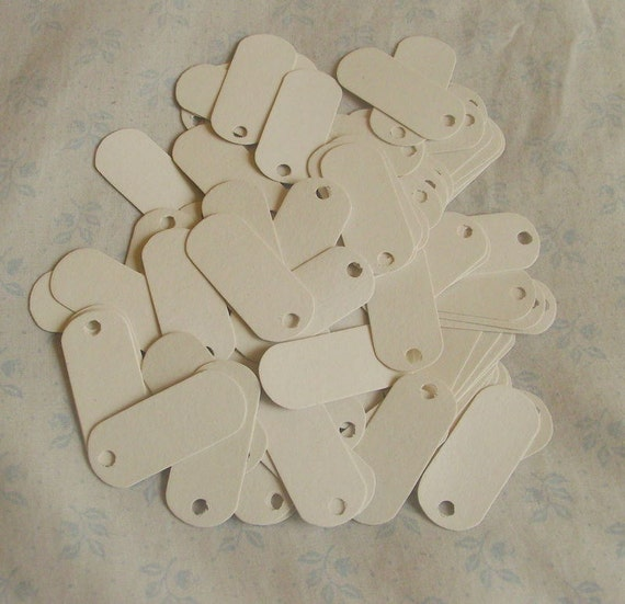100 Eco Friendly Long Cardboard Tags - Small (White)