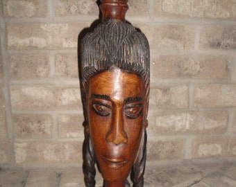 1980's Jamaican Mahogany  Wood Carving Tribe Statue