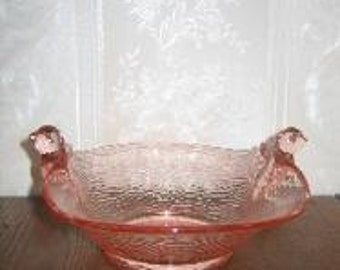 Vintage 1930's True Pink Depression Glass Bluebird Console Serving Dish