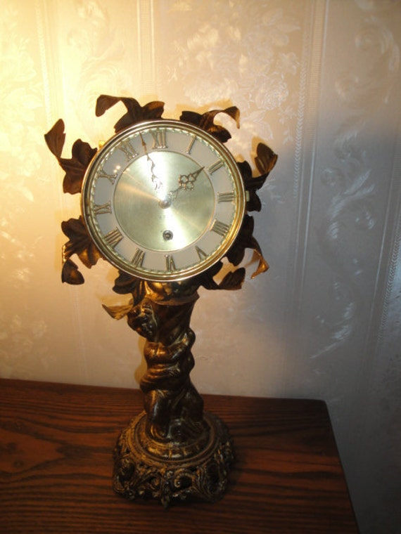 Vintage Endura 8 Day Movement  Wind Up Angel Cherub Shelf  / Table Clock