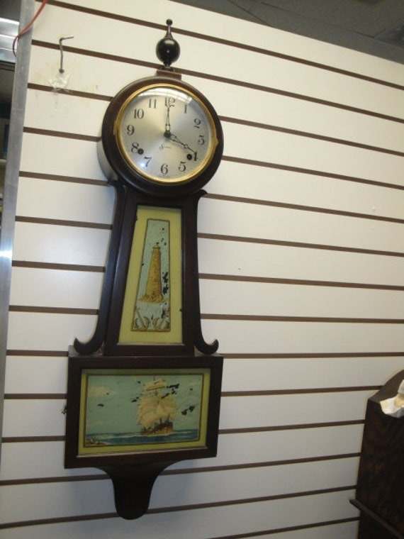 Antique Sessions 8 Day Banjo Style Wind Up Pendulum Wall Clock