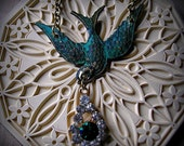 Vintage inspired Swallow in flight necklace
