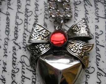 Ruby Necklace : Vintage Blood Heart and Rhinestone necklaces