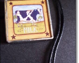 Framed Pendant, Dairy Farm,Milk Lovers, Charm Necklace