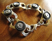 Gold recycled ring pull Bracelet with black rubber and rivets