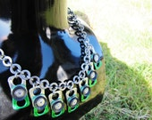 Pull Tab Charm Chain Necklace, green, silver, black, with recycled inner tube