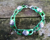 Eco friendly green beer can riveted bracelet with forged metal washers