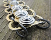 Chunky Riveted Bracelet, Recycled, Eco Friendly, Gold Can-Pulls and Stainless Steel Washers