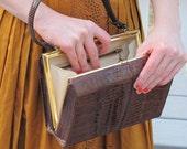 vintage brown faux alligator handbag