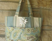 SUMMER SALE Tote in Robins Egg Blue & Soft Green with Vintage Pin