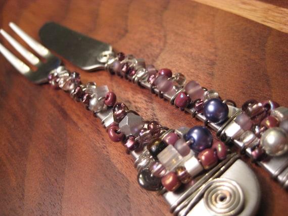 RESERVED for Marcia - Purple Knife & Fork Appetizer Set and Gold Salad Set