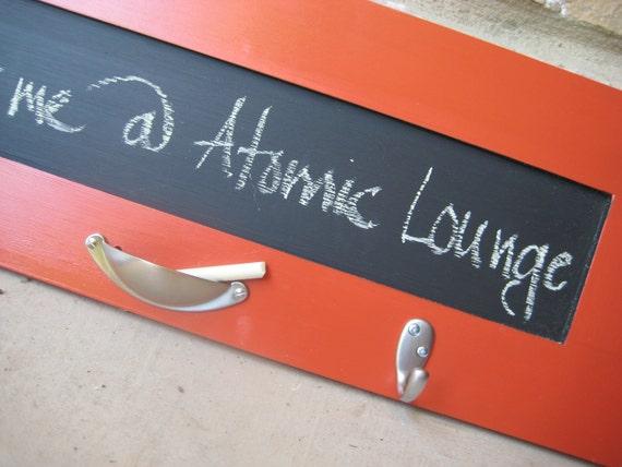 Chalkboard with Key Hooks - Vintage Orange - Repurposed - Kitchen Chalkboard - Modern Orange Keyboard - Message Board - Ready to Ship