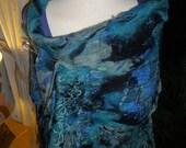 Nuno Felted wool & silk wrap scarf shawl - jade blue teal - Stormy Seas Art To Wear