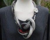Lagenlook necklace Chunky felted wool in black grey &red ......Art to Wear