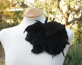 Black felted flowers gothic corsage pin brooh - Quirky & large - made to order