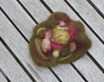 Nuno & shibori felted wool and silk flower pin brooch green with pink - gift for her
