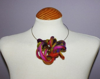 felted wool statement lagenlook necklace choker  ..wearable art .. purple orange green pink ......OOAK Art to Wear