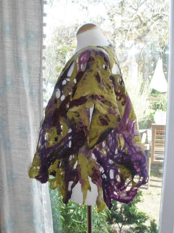 Fibre art felted wool gilet jacket tunic - Custom made in your size your length one size osfa