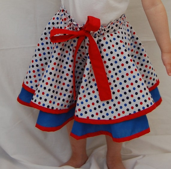 TODDLER SKIRT (red and blue polka dot) 2T- 5T